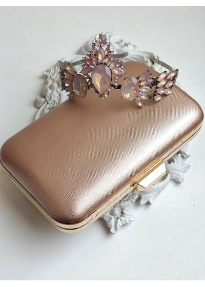 Луксозен комплект корона и дамски клъч в нежно розово за подарък или бал