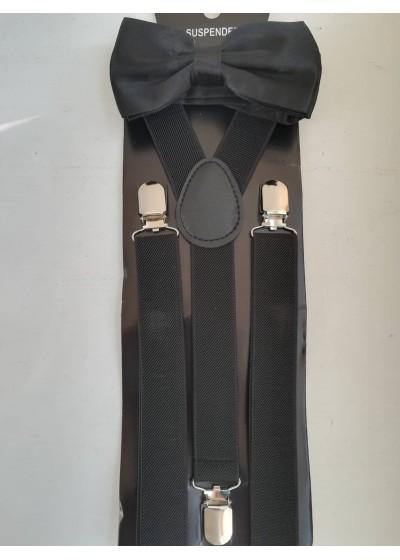 Стилен комплект тиранти и папийонка в черно