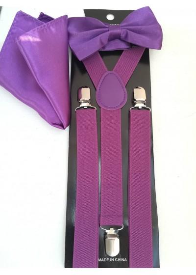 Стилен комплект за официални събития папийонка тиранти и кърпичка в лилаво