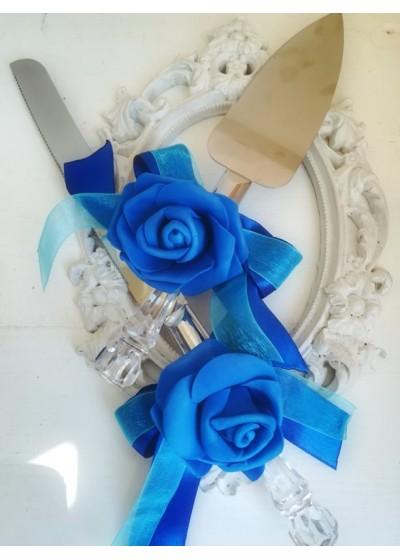 Прибори за торта за сватба с декорация в кралско синьо и тюркоаз серия Peacock Blue