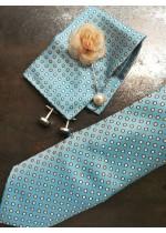 Комплект за младоженец бутониера, вратовръзка, ръкавели и кърпичка в светъл тюркоаз и бяло