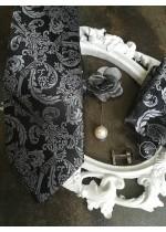 Комплект за младоженец Официална Вратовръзка с кърпичка, ръкавели и бутониеря в черно