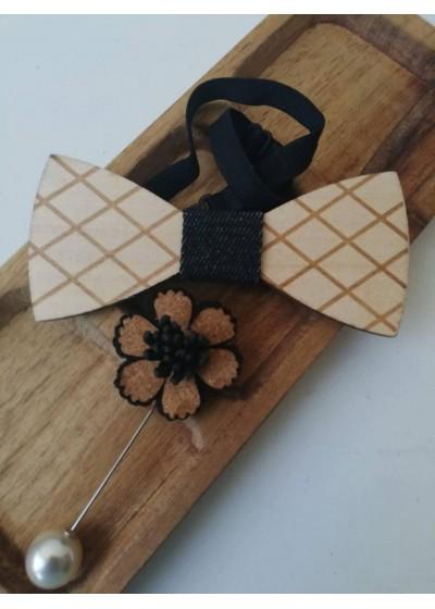 Комплект за младоженец - оригинална мъжка папийонка от дърво и бутониера