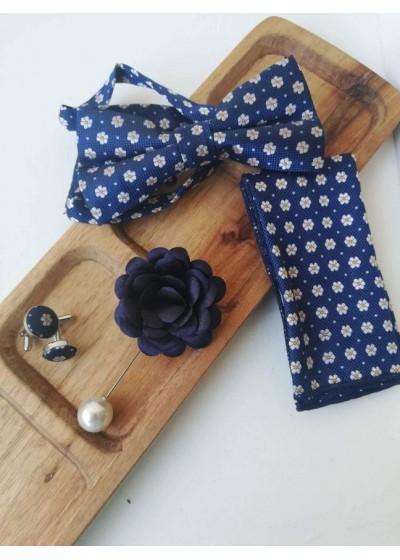 Изискан комплект за младоженец - папийонка, кърпичка за сако, ръкавели с маргаритки и бутониера