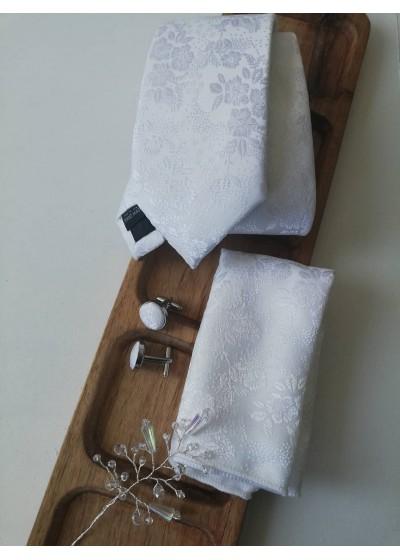 Сватбен комплект за младоженец- вратовръзка, ръкавели, дизайнерска бутониера и кърпичка в бяло
