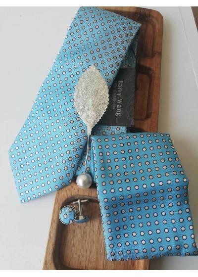 Комплект за сватба - вратовръзка, ръкавели, бутониера и кърпичка в светъл тюркоаз и бяло