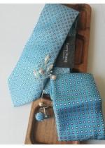 Комплект за сватба - вратовръзка, ръкавели, дизайнерска бутониера и кърпичка в светъл тюркоаз и бяло