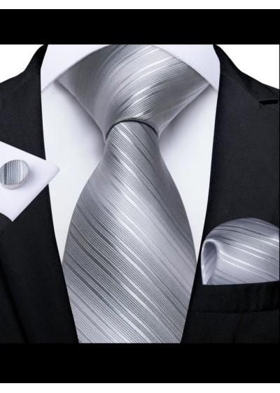 Луксозен комплект вратовръзка кърпичка и ръкавели в цвят сребристо сиво