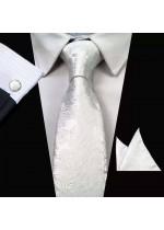 Комплект мъжка вратовръзка, ръкавели и кърпичка в бяло
