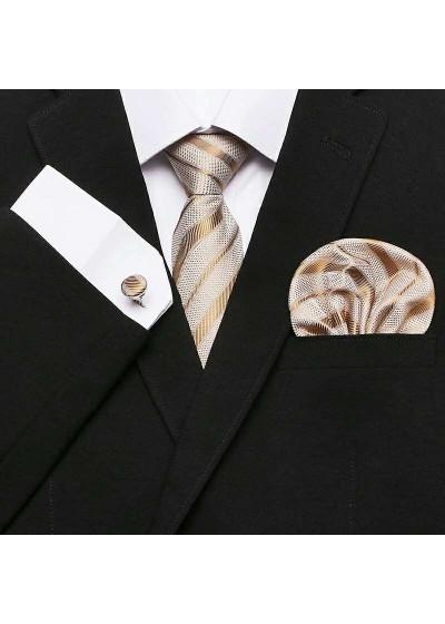 Комплект елегантна мъжка вратовръзка, ръкавели и кърпичка в бежово-златно