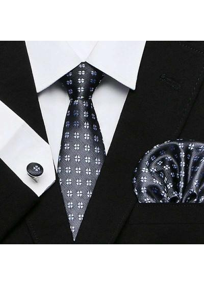 Комплект вратовръзка за младоженец, ръкавели и кърпичка в графитено сиво