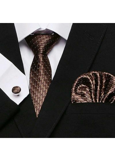 Комплект вратовръзка за младоженец, ръкавели и кърпичка в шоколадово кафяво