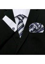 Комплект вратовръзка за младоженец, ръкавели и кърпичка в тъмно синьо и бяло
