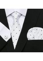 Комплект елегантна сватбена вратовръзка, ръкавели и кърпичка в бяло на черни точки