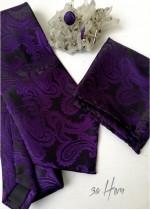 Комплект за младоженец - луксозна вратовръзка кърпичка и ръкавели в тъмно лилаво и черно