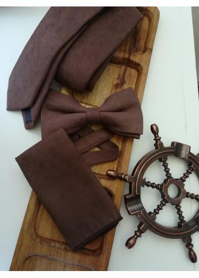 Луксозен комплект вратовръзка за младоженец, папийонка и кърпичка в шоколадово кафяво