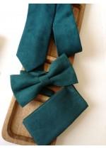 Елегантен комплект вратовръзка за младоженец, папийонка и кърпичка в тъмнозелено