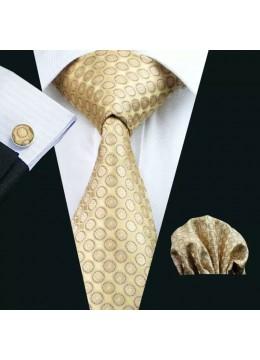 Вратовръзка за сватба в комплект кърпичка и ръкавели в златно