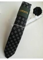 Мъжки комплект аксесоари за сватба бал и бизнес вратовръзка кърпичка и бутониера в черно и бяло