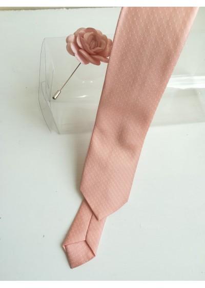 Комплект тънка вратовръзка и бутониера в цвят праскова за бал и сватба