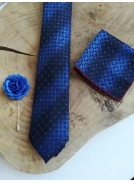 Красив комплект за младоженец и кум мъжка вратовръзка кърпичка и бутониера в тъмно и кралско синьо
