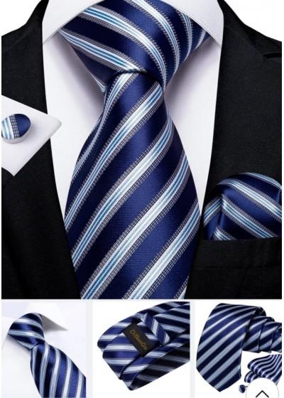 Луксозна класическа вратовръзка за сватба в комплект кърпичка и ръкавели в кралско синьо и бяло