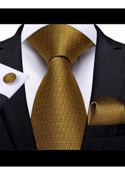Модерна класическа вратовръзка за сватба в комплект кърпичка и ръкавели в цвят старо злато