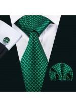 Комплект сватбена вратовръзка кърпичка и ръкавели в тъмно зелено и черно
