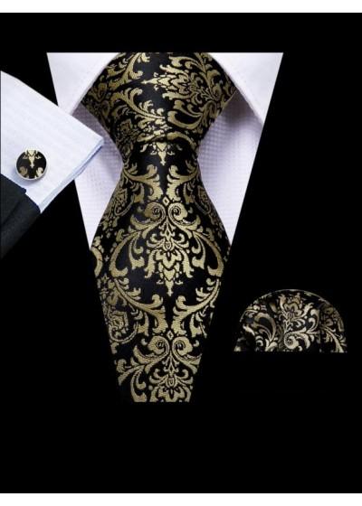 Вратовръзка за младоженец в комплект кърпичка и ръкавели в черно и златно