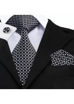 Комплект мъжка вратовръзка кърпичка и ръкавели в черно и бяло