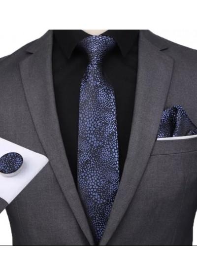 Комплект вратовръзка за младоженец, ръкавели и кърпичка в черно и тъмно синьо