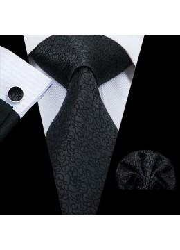 Елегантна вратовръзка за младоженец в черно в комплект с кърпичка и ръкавели