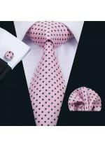 Комплект вратовръзка кърпичка и ръкавели в розово на черни точки