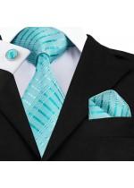 Стилен комплект вратовръзка кърпичка и ръкавели в цвят тюркоаз (Тифани)