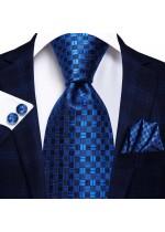 Луксозна вратовръзка за сватба в комплект кърпичка и ръкавели в тъмно синьо и кралско синьо