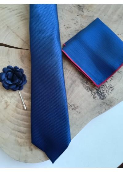 Луксозна вратовръзка за младоженец в тъмно синьо в комплект с кърпичка и бутониера