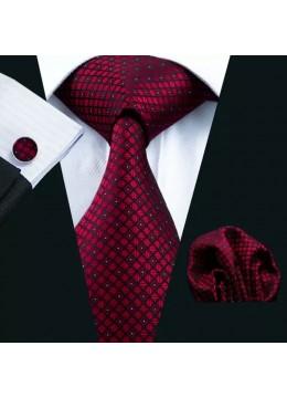 Модерен и елегантен комплект вратовръзка кърпичка и ръкавели в цвят бордо