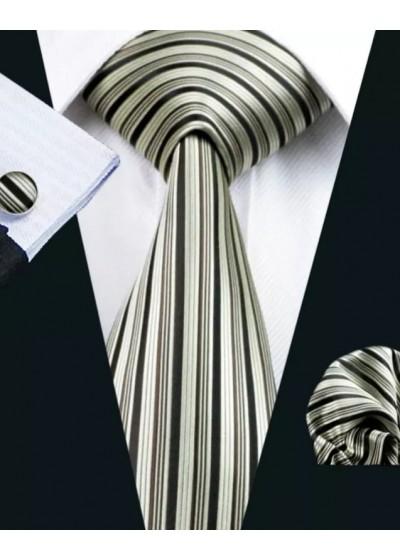 Комплект за младоженец вратовръзка кърпичка и ръкавели в райе сребърно и черно модел РМЛ21083