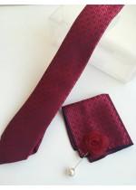 Комплект за младоженец и абитуриент мъжка вратовръзка кърпичка и бутониера във вишнево червено и черно