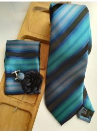 Луксозен мъжки комплект вратовръзка кърпичка ръкавели и бутониера в тюркоаз черно и синьо