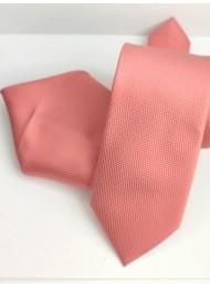 Вратовръзка за младоженец и абитуриент цвят сьомга комплект с кърпичка за джоб