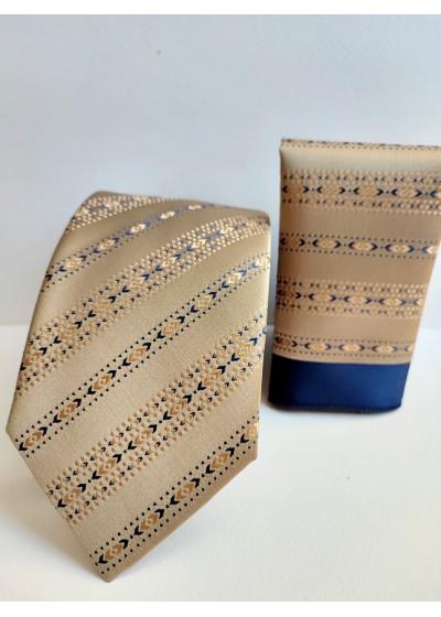 Комплект копринена вратовръзка и кърпичка за сватба и бал в златно