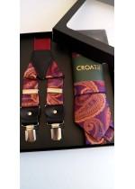 Луксозен комплект за младоженец от вратовръзка тиранти и кърпичка с мотиви в червено и лилаво