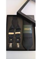 Комплект мъжка вратовръзка тиранти и кърпичка в черно с тюркоазени точки за младоженец или за офис облекло