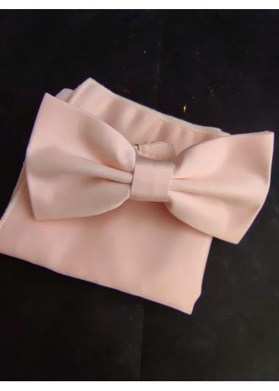 Елегантна папийонка в цвят розова праскова комплект с кърпичка за сватба и бал