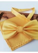 Сватбена папийонка и кърпичка в жълто