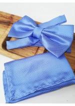 Сватбена папийонка и кърпичка в синьо
