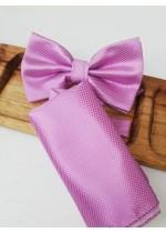 Папийонка и кърпичка за младоженец в светло лилаво