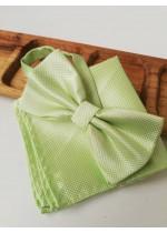 Папийонка и кърпичка за младоженец в светло зелено