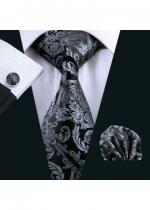 Комплект мъжка вратовръзка, ръкавели и кърпичка в черно